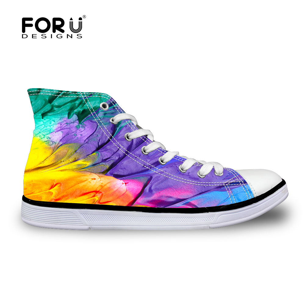 FORUDESIGNS Fashion Canvas Shoes For Men Graffiti Candy Color Sport Sneakers Korean Style High Top Shoes For Young Ladies Male