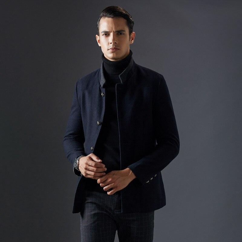 Новый тонкий стенд воротник мужские пальто Зимняя шерстяная одежда хорошее качество черный, темно-синий Цвета cappotto Uomo