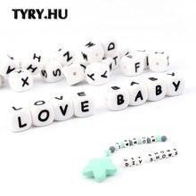 TYRY.HU 500 قطعة 12 مللي متر سيليكون الخرز رسالة الطفل عضاضة الخرز اسم على هوة سلسلة كليب مضغ الأبجدية الخرز لعبة طفل