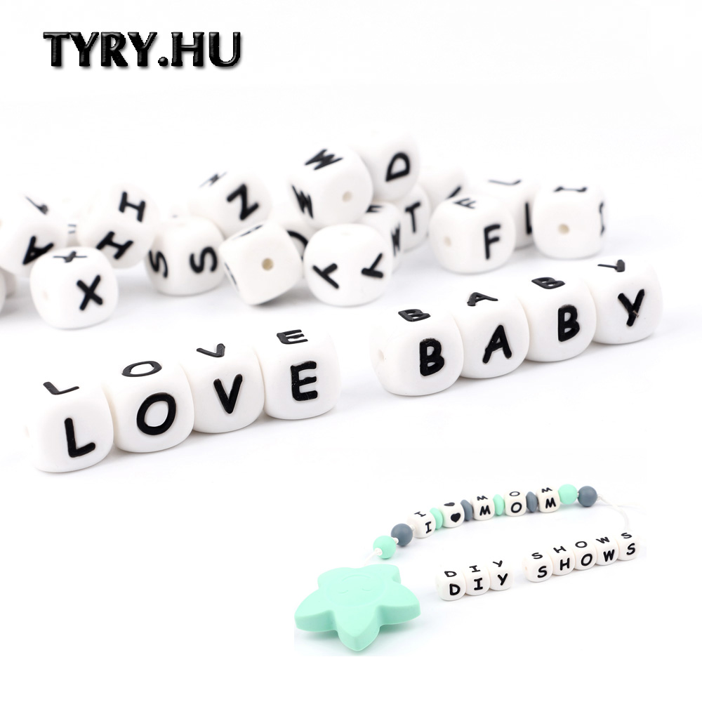 TYRY.HU 500 Pieces Silicone Letter Bead English Alphabet Letter DIY Pacifier Chain Baby Name Teething Bead Teether  12mm