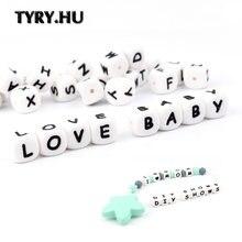 TYRY.HU 500Pcs 12mm Silikon Perlen Brief Baby Beißring Perlen Name auf Schnuller Kette Clips Kauen Alphabet Perlen Baby spielzeug