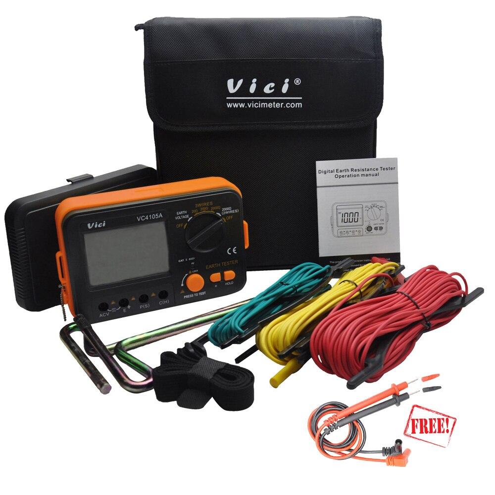 VICI VC4105A тестер сопротивления заземления ЖК цифровой измеритель сопротивления напряжения Lightning Rod измерительный инструмент инструменты