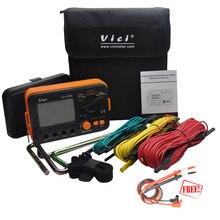 Vici vc4105a resistência à terra tester à terra lcd digital resistência medidor de tensão haste relâmpago instrumento medição ferramentas