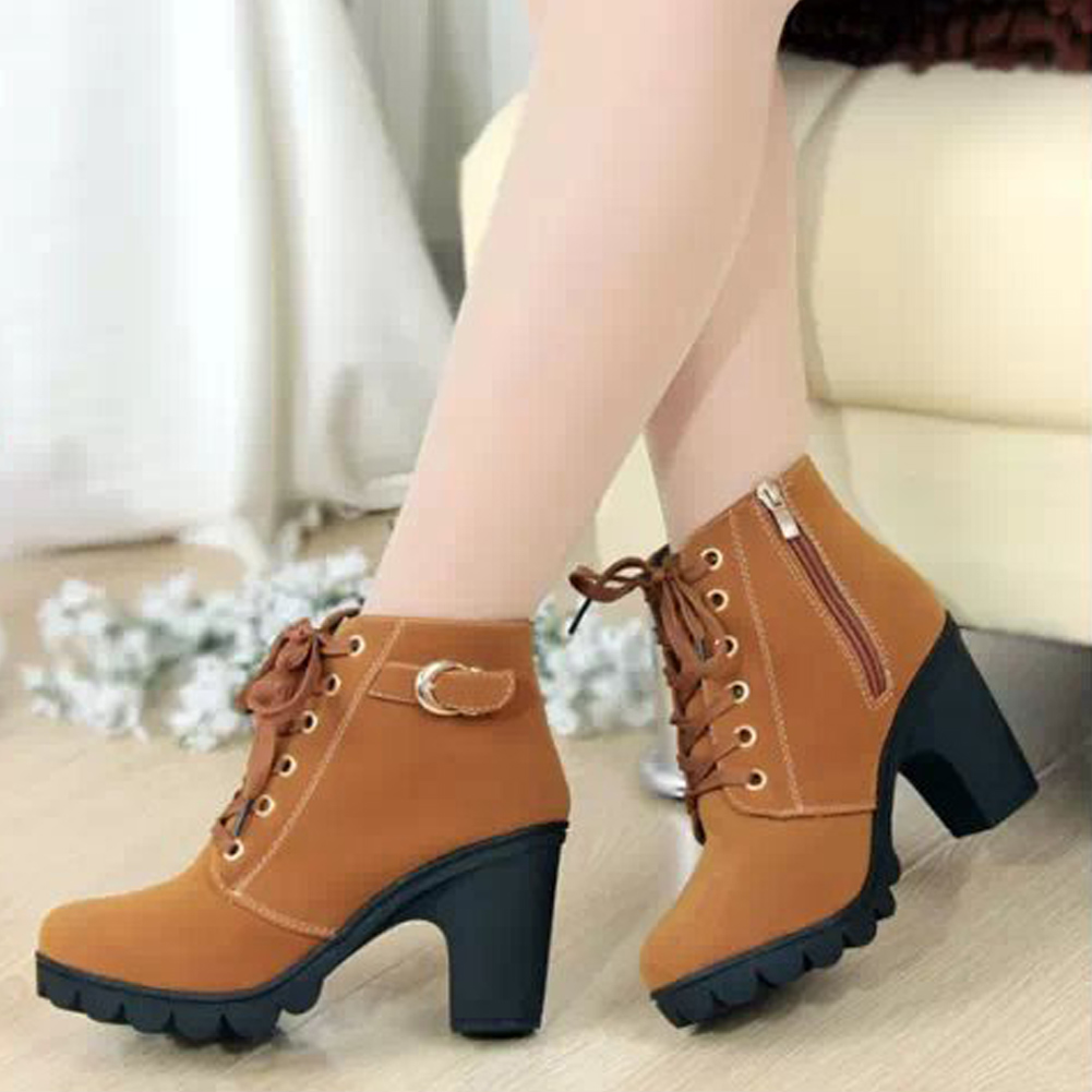 Winter Women Fashion Boots Buckle Ankle High Heels Zipper Lace Up Martin PU Black Yellow Elegant Shoe