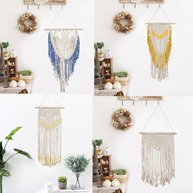Bohemia Cotton Tassels Chair Sashes Macrame Wall Art Handmade Cotton Wall Hanging Tapestry with Lace Fabrics Wedding Decoration
