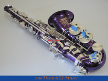 Purple Body and Silver Plated Keys Alto saxophone Eb Sax saxofon High F# Brand new With Case
