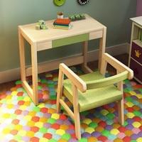 Тип роста может поднять и отрегулируйте журнала детские столы и стулья высококачественной твердой древесины Детская письменный стол и сту