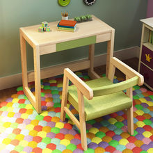 Growth type can lift and adjust the log children tables and chairs High-quality solid wood children's study Desk and chair set(China)