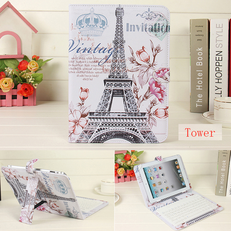 Fashion Leather Stand Cases For iPad 5 6 Air 1 2 9.7 Wireless Bluetooth Keyboard Case For iPad 2 3 4 Slim Tablet Cover+Pen