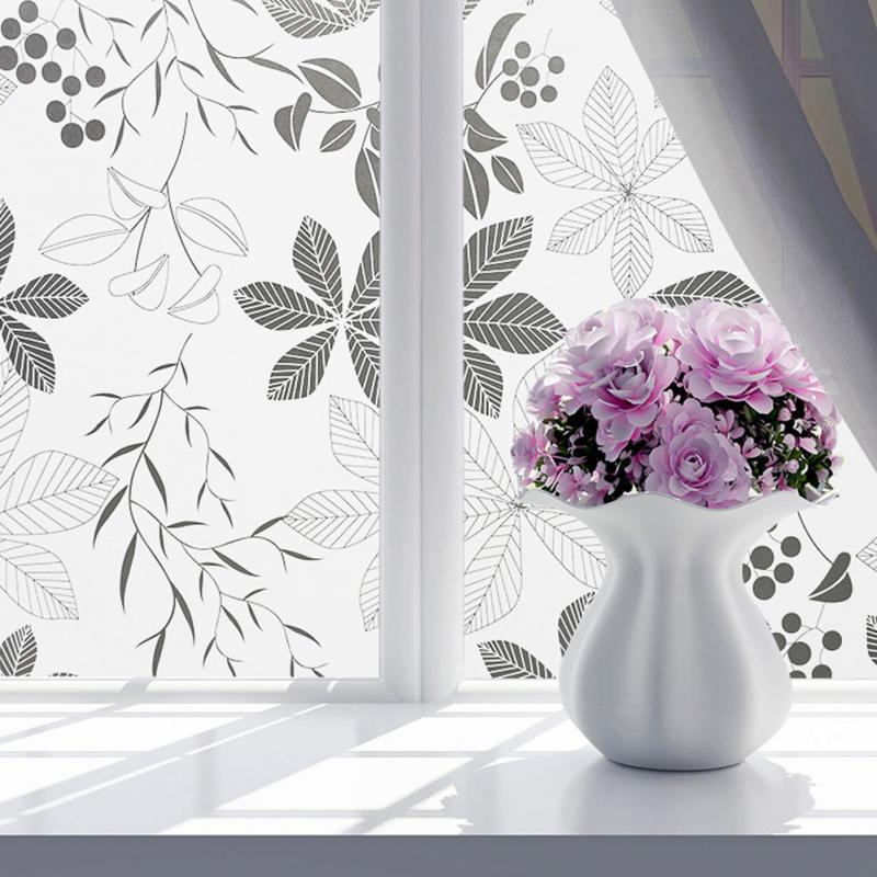 45x100CM45x200CM Matte Flower Print Sunscreen Heat Protective Window Film PVC Privacy Covering Bath Glass Sticker Home Decor
