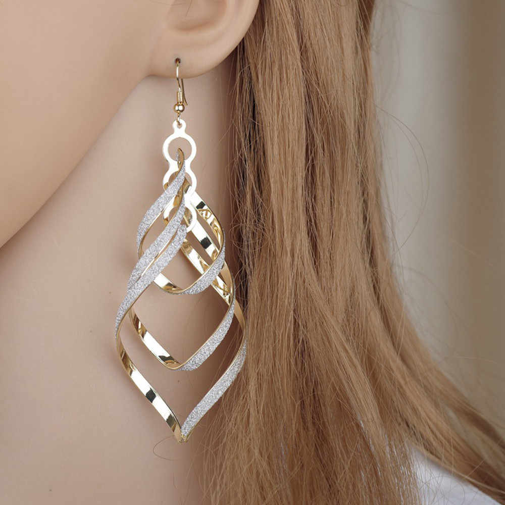 Fashion Women Earrings Gold Filled Spiral Scrub Long Dangle Drop Earrings Jewelry Gifts Beautiful Oorbellen Flawless Bijoux