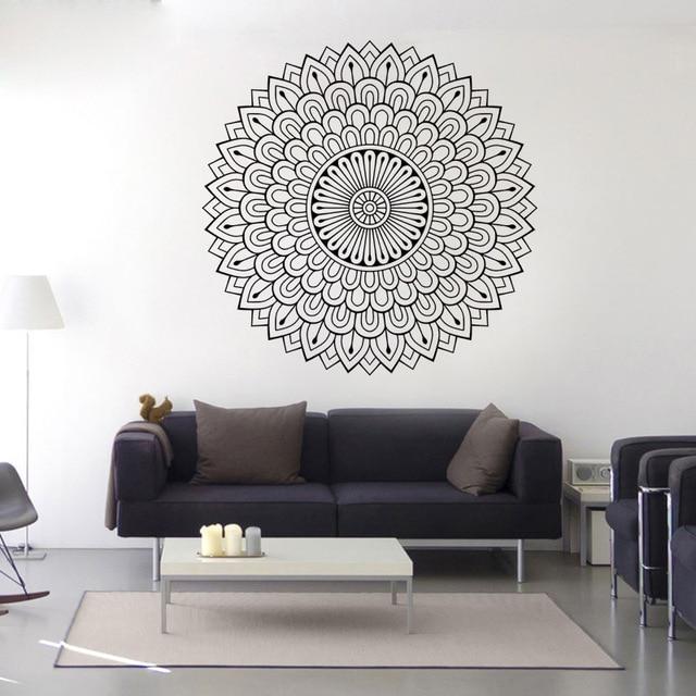 Bohemian Yoga Mandala Wall Sticker Mehndi Decal Vinyl Bedroom India Flower Art Mural Poster