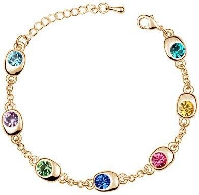 Подарок на день рождения, высокое качество, 7 бусин, Звездные глаза, браслеты с кристаллами, модные ювелирные изделия, 12 цветов, милые Подвески для женщин - Окраска металла: gold multi