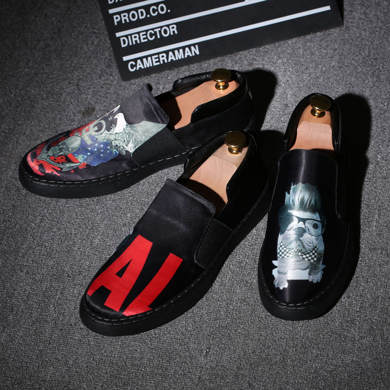 Hot Sale Graffiti Handmade Genuine Leather Men Flats Breathable Causal Shoes Slip-on Business Lazy Driving Loafers Shoes Tide high end breathable men casual shoes loafers genuine leather lace up rubber handmade slip on sewing lazy shoes italian designer