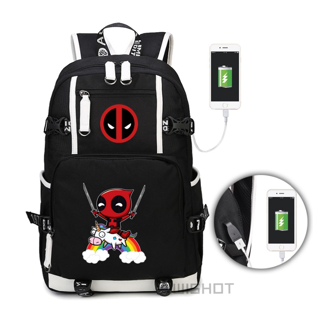 WISHOT Deadpool Superheros backpack for teenagers Men women Fashion School Bag travel USB Charging bag Multifunction