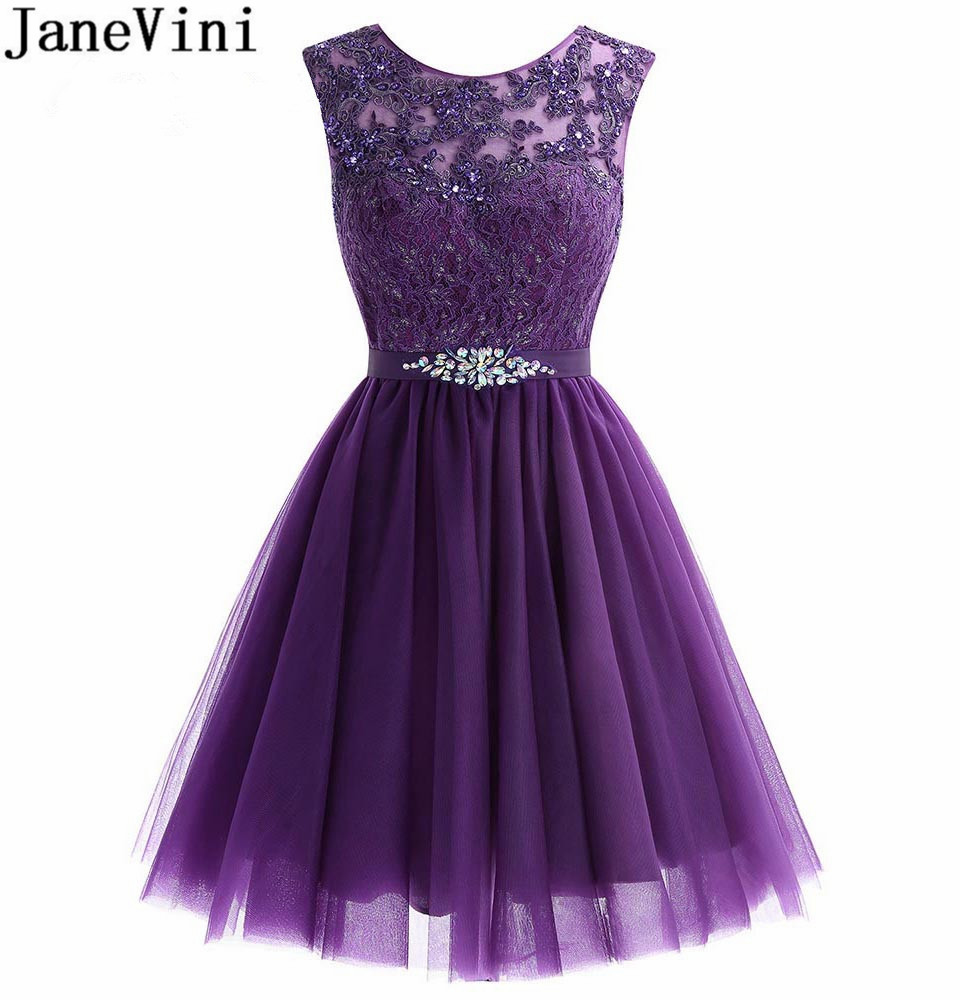 JaneVini Lebanon Homecoming   Dresses   Short Tulle Graduation Prom   Dress   2018 Beaded Lace Crystal   Bridesmaid     Dresses   Party Wear