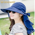 2016  Women's Foldable Outdoor UV Protection Wide Brim Sun Hat Face Neck Protection Chiffon Summer Fishing Hat Beach Cap Panama