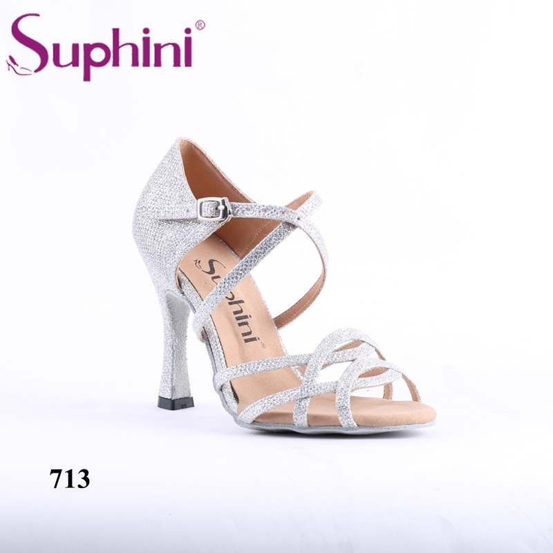 Latest Design Suphini Rhinestone Open Toe Handcraft Women Silver Latin Salsa Dance Shoes