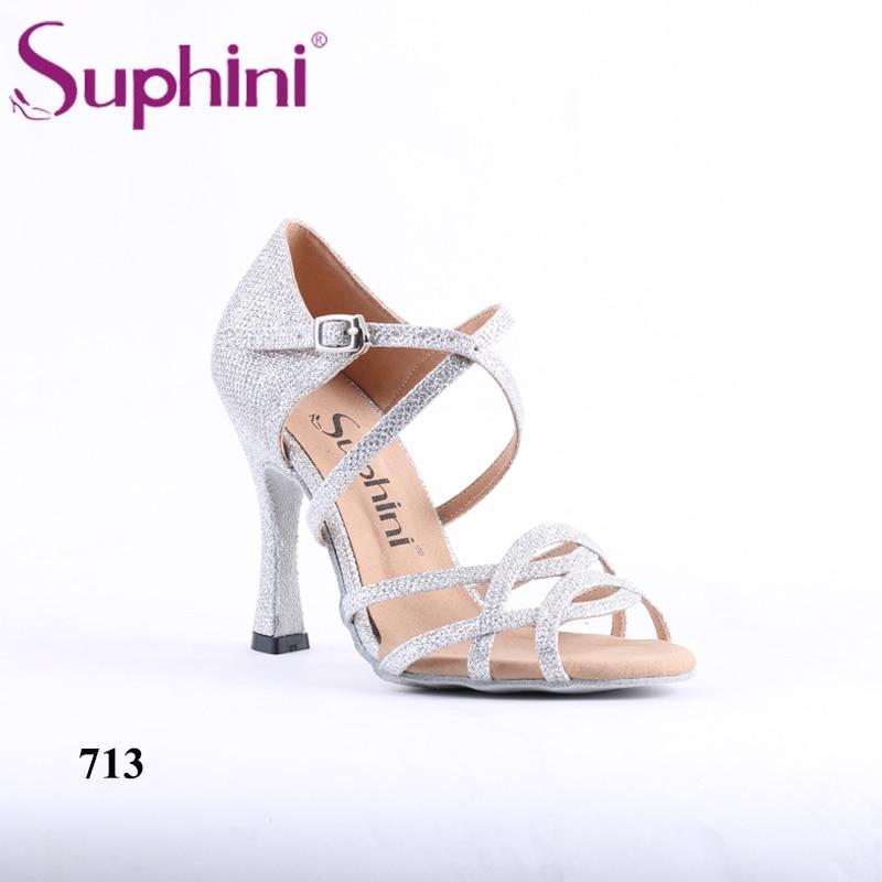 Latest Design Suphini Rhinestone Open Toe Handcraft Women Silver Latin Salsa Dance Shoes