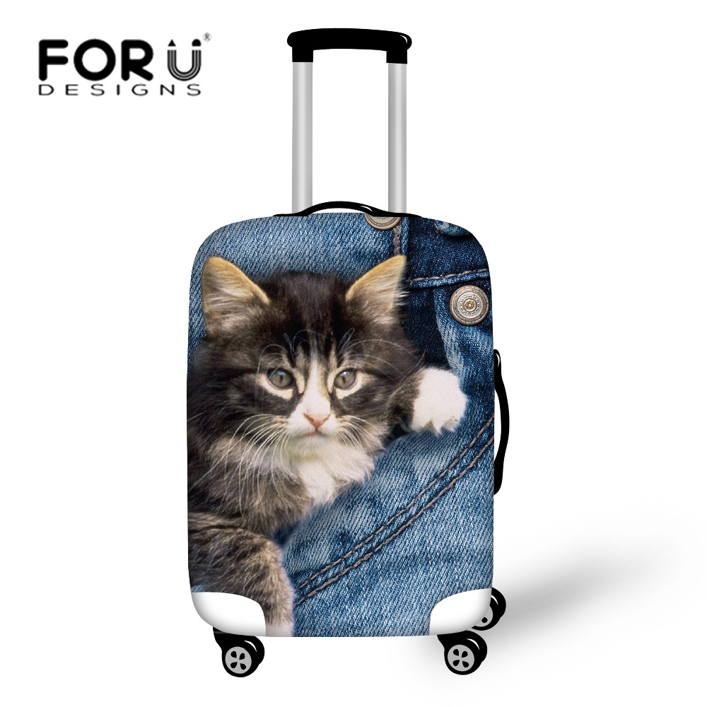 FORUDESIGNS 3D Denim Cat Travel Bags Luggage Cover Thick Elastic Stretch Protective Suitcase Covers Apply To 18''-30'' Case N