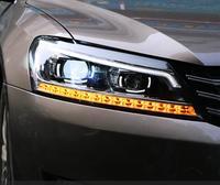 2PCS LED Scheinwerfer Für vw Passat 2011-2016 Auto Led Lichter Doppel Xenon-Objektiv Auto Zubehör Tagfahrlicht lichter Nebel Licht