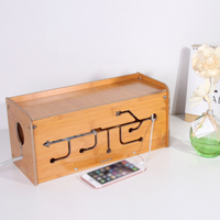 WiFi Storage Box Multi function Case Wireless Cable Router Shelf Organizer Bamboo and Wood Color|Storage Boxes & Bins| |  -