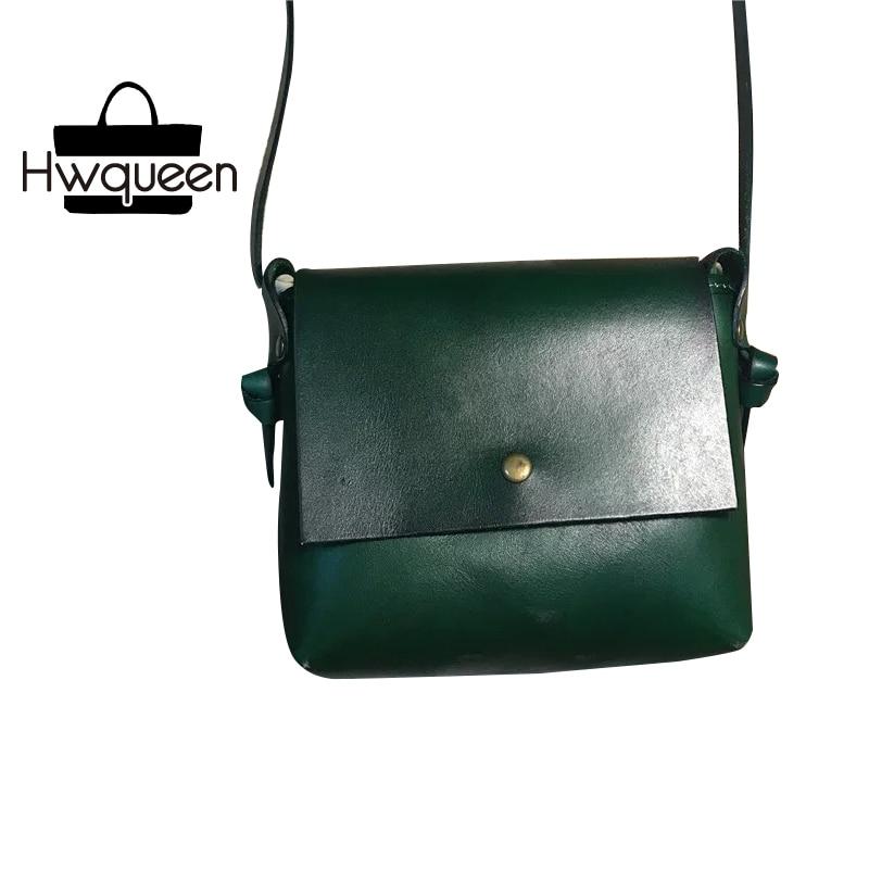 Vintage Designer Cowhide Ladies Green Flap Bag Women's Small Mini Black Purse Genuine Leather Female Single Cross Shoulder Bag