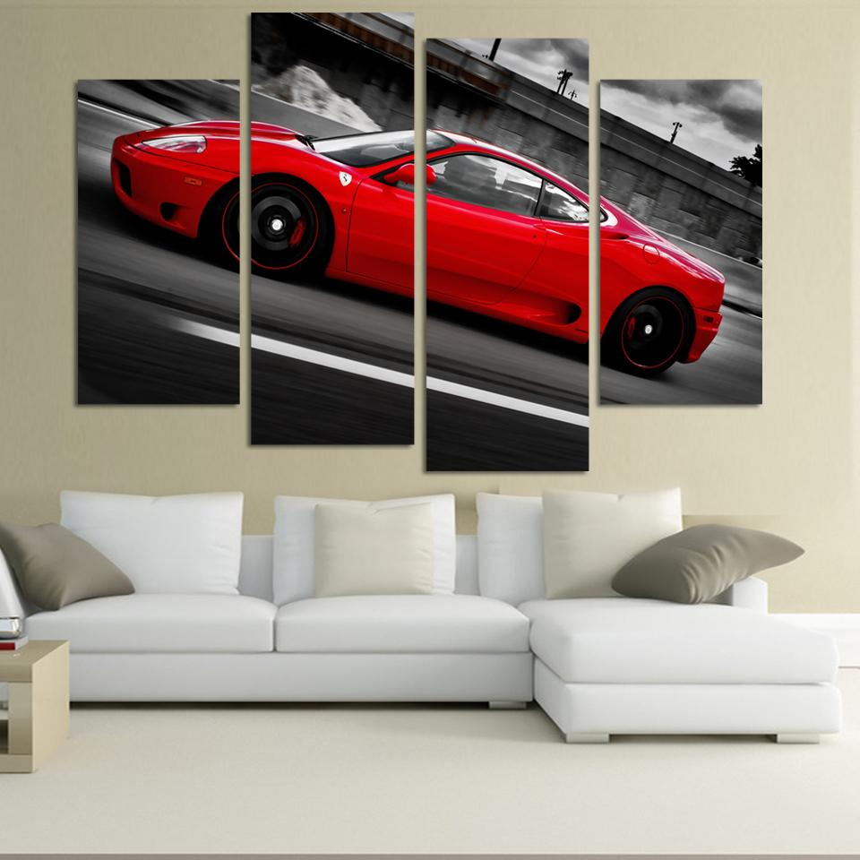 4 Pcs Red Sports Car Wall Art Picture Home Decoration Living Room Canvas Print Painting Wall picture print on canvas