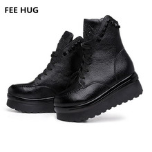FEE HUG 2017 Women's Shoes Genuine Leather Martin Lace Up Rivet Mid Calf Boots Woman Platform Flats Woman Boots EURO 40