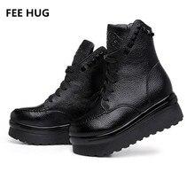 Плата Hug 2017 Женская обувь Пояса из натуральной кожи Martin Кружево до заклепки ботинки до середины икры женские Туфли на плоской платформе женские ботинки евро 40