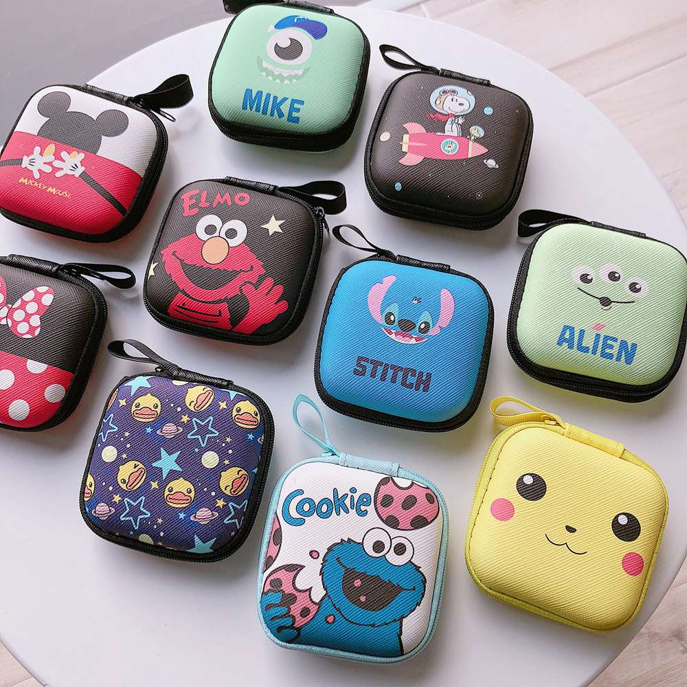 Cartoon Mini Zipper Hard Headphone Holder Case Portable Earbuds Pouch Box Earphone Storage Bag Protective USB Cable Organizer