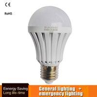 Светодио дный чрезвычайных лампочка автоматическая зарядка 5 Вт 7 Вт 9 Вт холодный белый Перезаряжаемые Батарея лампа E27 AC85-265V пожарный светодио дный лампада