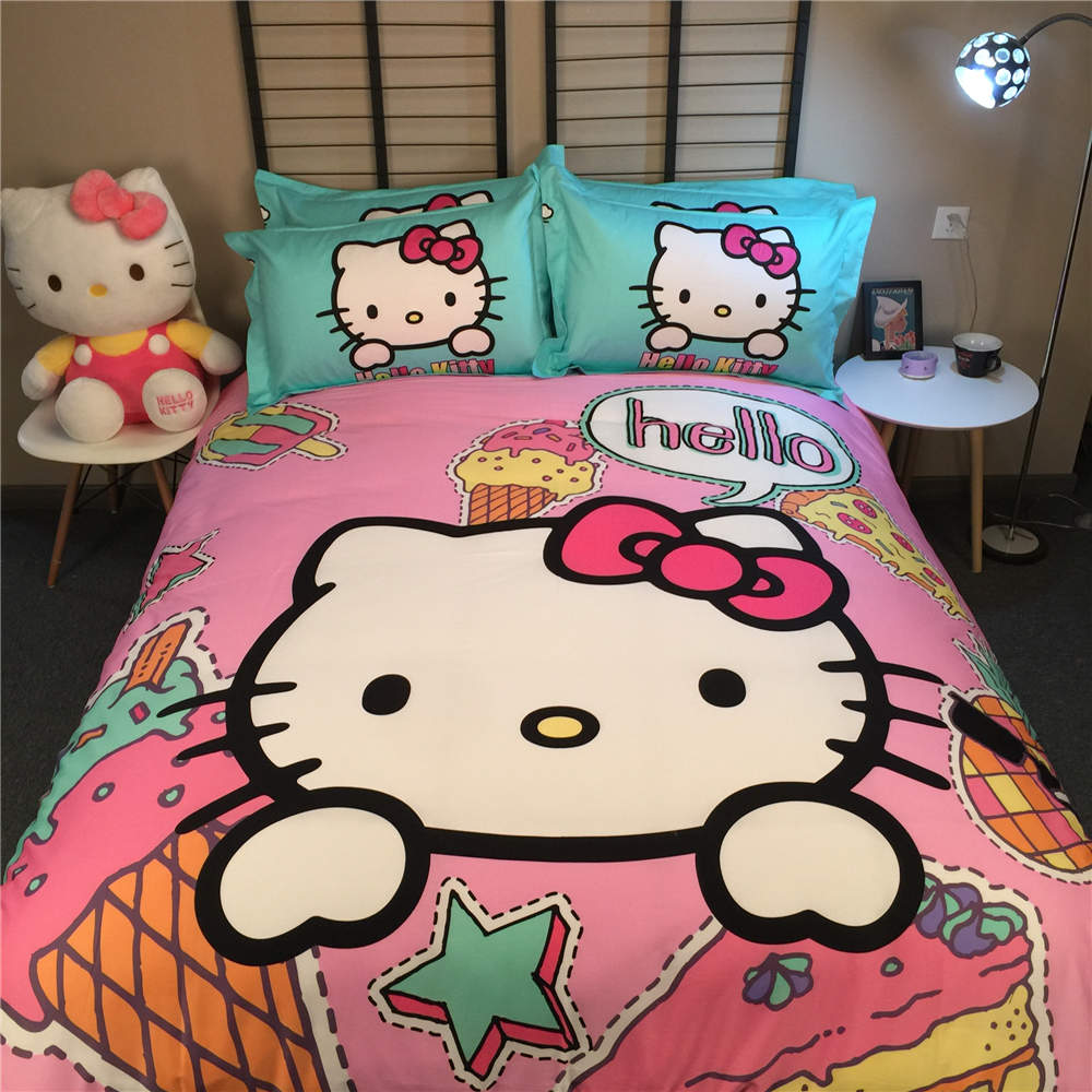 Pink hello kitty bedsheet - Pink Hello Kitty Bedsheet Hot Cotton Comforter Duvet Quilt Cover Pink And Green Hello Kitty