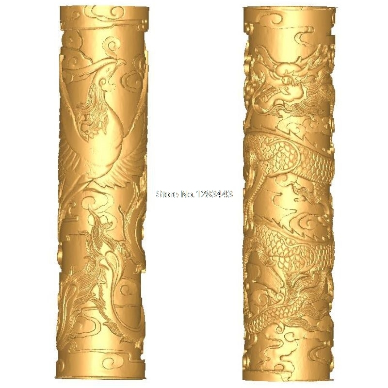 2pcs Baluster_pillars_Dragon And Phoenix 3d Model STL Relief For Cnc STL Format Staircase Column 3d Model For Cnc Stl Relief