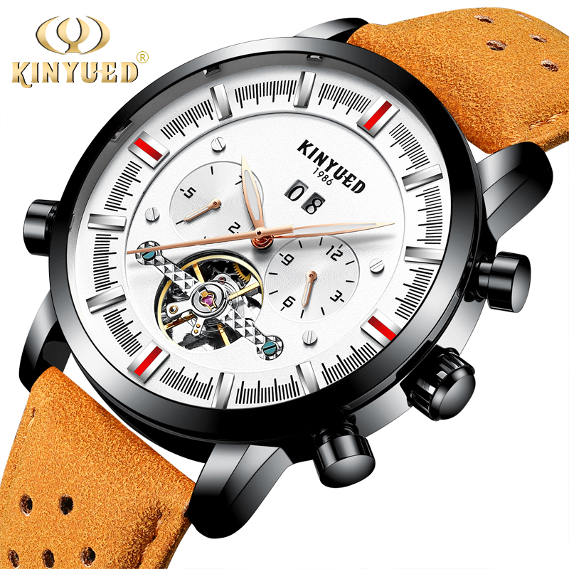 KINYUED Self-wind Automatic Mechanical Watches Men Leather Strap Top Brand Luxury Men's Dress Watches relogio masculino dropship luxury gold automatic self wind men business casual watches stainless steel strap mechanical wrist luminous relogio masculino