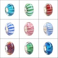925 Sterling Silver Large Hole Colorful Beads Murano Glass 3D Flower European Charm Beads Fit Brand Style Bracelet