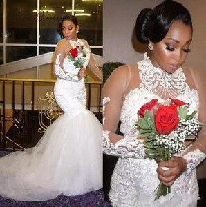 Halter Neck Illusion Sleeve Vintage Emboridery Mermaid Wedding Dress 2020 Africa fashion Long Sleeve White Wedding Gown W0379
