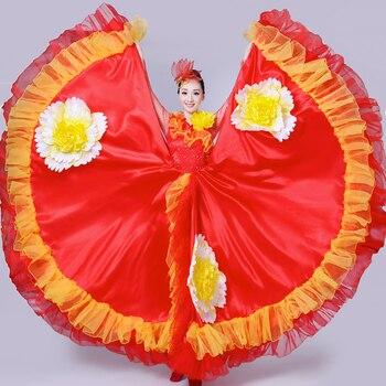 9b9913a57 Vestido Flamenco mujeres señoras rojo español disfraces para danza moderna  ropa de España Gipsy ...