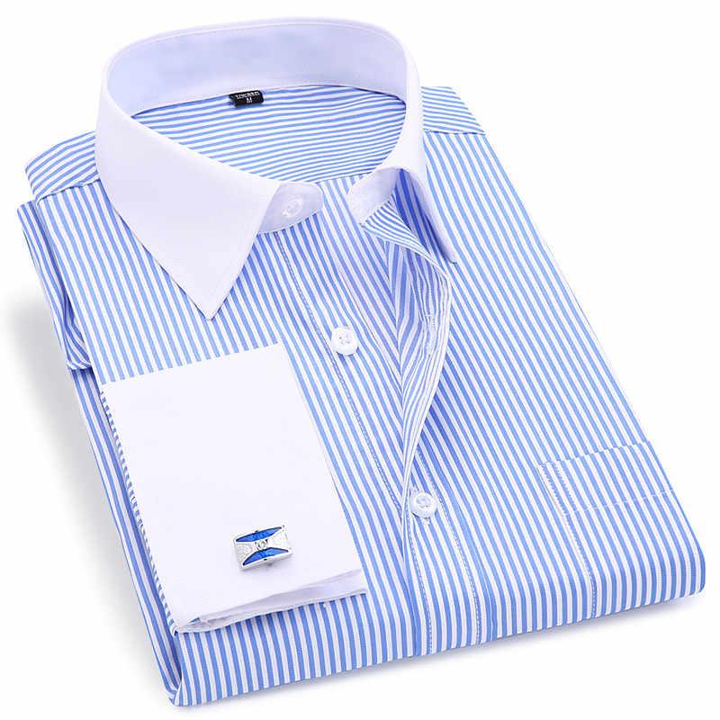 男性フレンチカフスシャツ 2019 新メンズストライプシャツ長袖カジュアル男性ブランドのシャツスリムフィットカフドレスシャツ