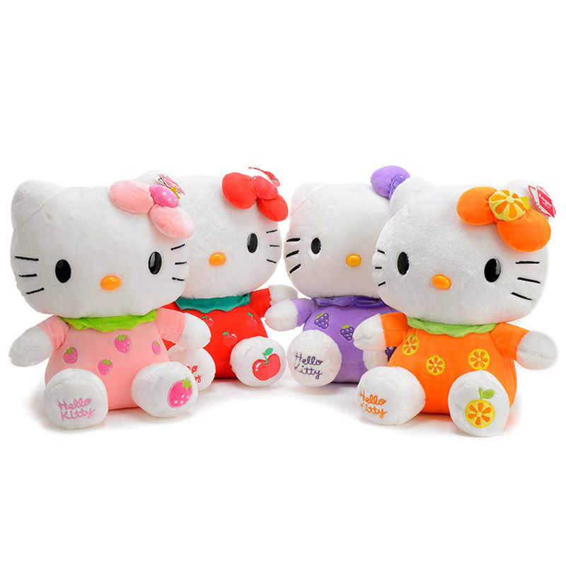 1pcs 8 20cm Fruit style Hello kitty Cat Plush Toys stuffed animal Dolls home decoration for baby childrens christmas gift