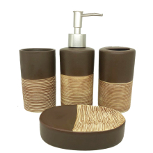 4 Sets Of Chocolate Color Ceramic Bathroom Accessories High Grade Wash Set Soap Dispenser Bathroom Supplies Wedding Gift Set