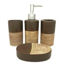 4セットのチョコレート色セラミック浴室付属品ハイグレード洗浄セットソープディスペンサー浴室用品結婚式のギフトセット