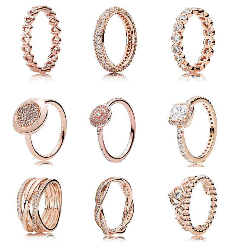 13 Styles Solid 925 Silver Rose Gold Timeless Elegance Love Eternal Braided Rings For Women Gift Fine Europe Jewelry