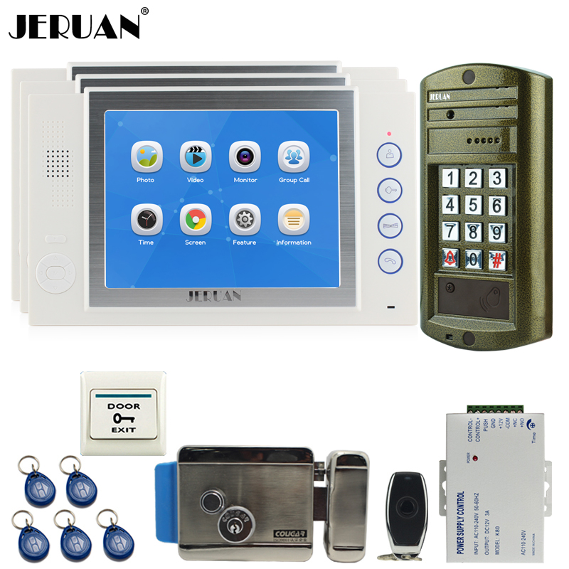 JERUAN Wired 8`` Video Door Phone Record Intercom System kit 3 White Monitor +NEW Metal Waterproof Password HD IR Mini Camera jeruan wired 8 video doorphone record intercom system kit 2 monitor new rfid waterproof touch key password keypad camera 8g sd