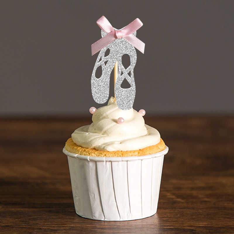 De Arco y oro/plata brillo zapatos de Ballet Cupcake Toppers selecciones bebé ducha chica/niños suministros de decoración para fiesta de cumpleaños