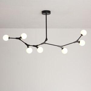 Image 4 - Plafonnier suspendu en verre, design nordique post moderne, luminaire décoratif de plafond, idéal pour un salon, une salle à manger ou une chambre à coucher, LED