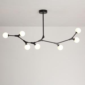 Image 4 - Postmodern LED chandelier living room suspended lighting Glass deco fixtures dining hanging lights Nordic bedroom pendant lamps