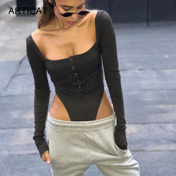 Articat Black Off Shoulder Sexy Bodysuit Women Long Sleeve Slash Buttons Bodycon Rompers Womens Jumpsuit Solid Summer Body Suit 1