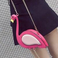 Mulheres Flamingo Pássaro Estilo de moda Bolsa de Ombro Cadeia Corpo Cruz Saco Ocasional PU Couro Mini Sacos Bolsa FA $ B