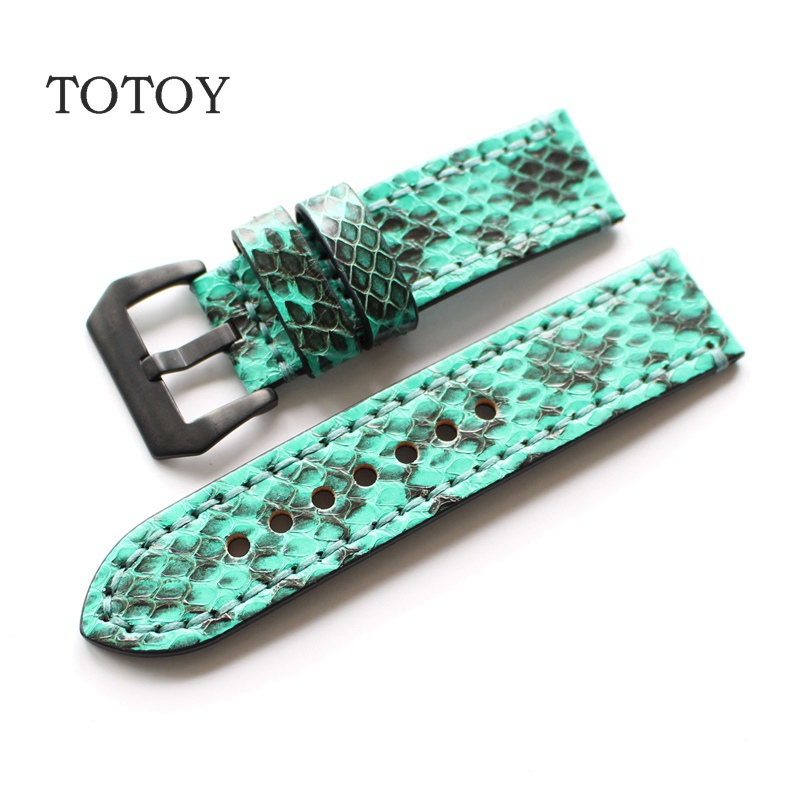 TOTOY Main Vert Python En Cuir Bracelets, 20mm 22mm 24mm 26mm Hommes En Cuir Souple Bracelets, haute Qualité Sangle